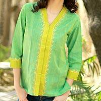 Cotton blouse, 'Refreshing' - Green and Yellow Embroidered Cotton Blouse