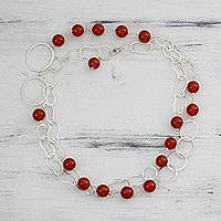Carnelian long necklace, 'Sun Glow' - Sterling Silver and Carnelian Link Necklace from India