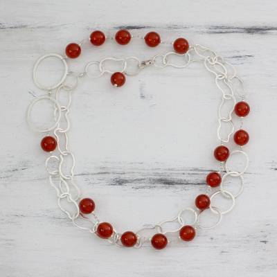 Carnelian long necklace, 'Sun Glow' - Carnelian long necklace