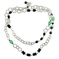 Quartz and onyx long necklace, 'Liaison' - Jade and Quartz Long Necklace