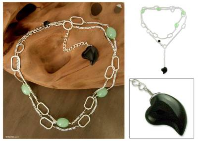 Quartz and onyx heart necklace, 'Love's Success' - Jade and Onyx Heart Necklace