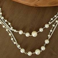 Pearl long chain necklace, 'Harmony'