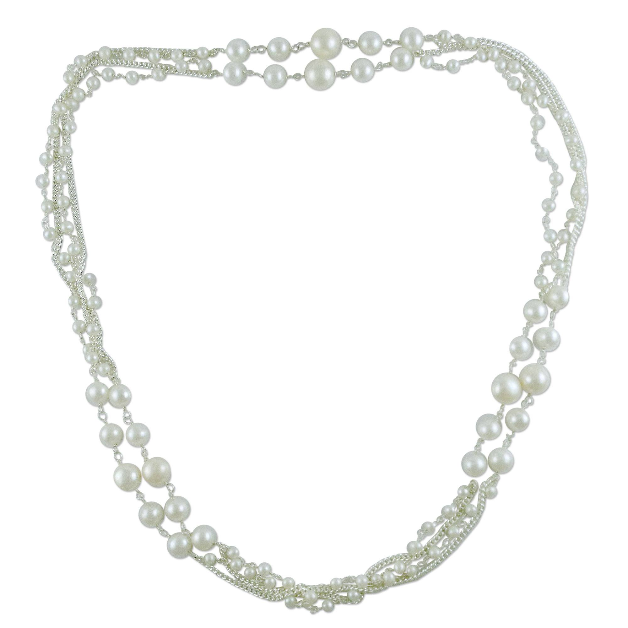 Pearl Long Chain Necklace by Ritu