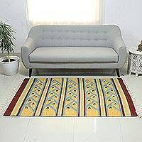 Wool dhurrie rug, 'Summer Dance' (4x6) - Fair Trade Geometric Wool Area Rug (4x6)