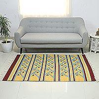 Wool dhurrie rug, 'Summer Dance' (4x6)