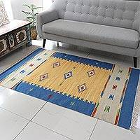 Wool rug, 'Fireworks' (4x6) - Fair Trade Wool Area Rug India Dhurrie 4x6