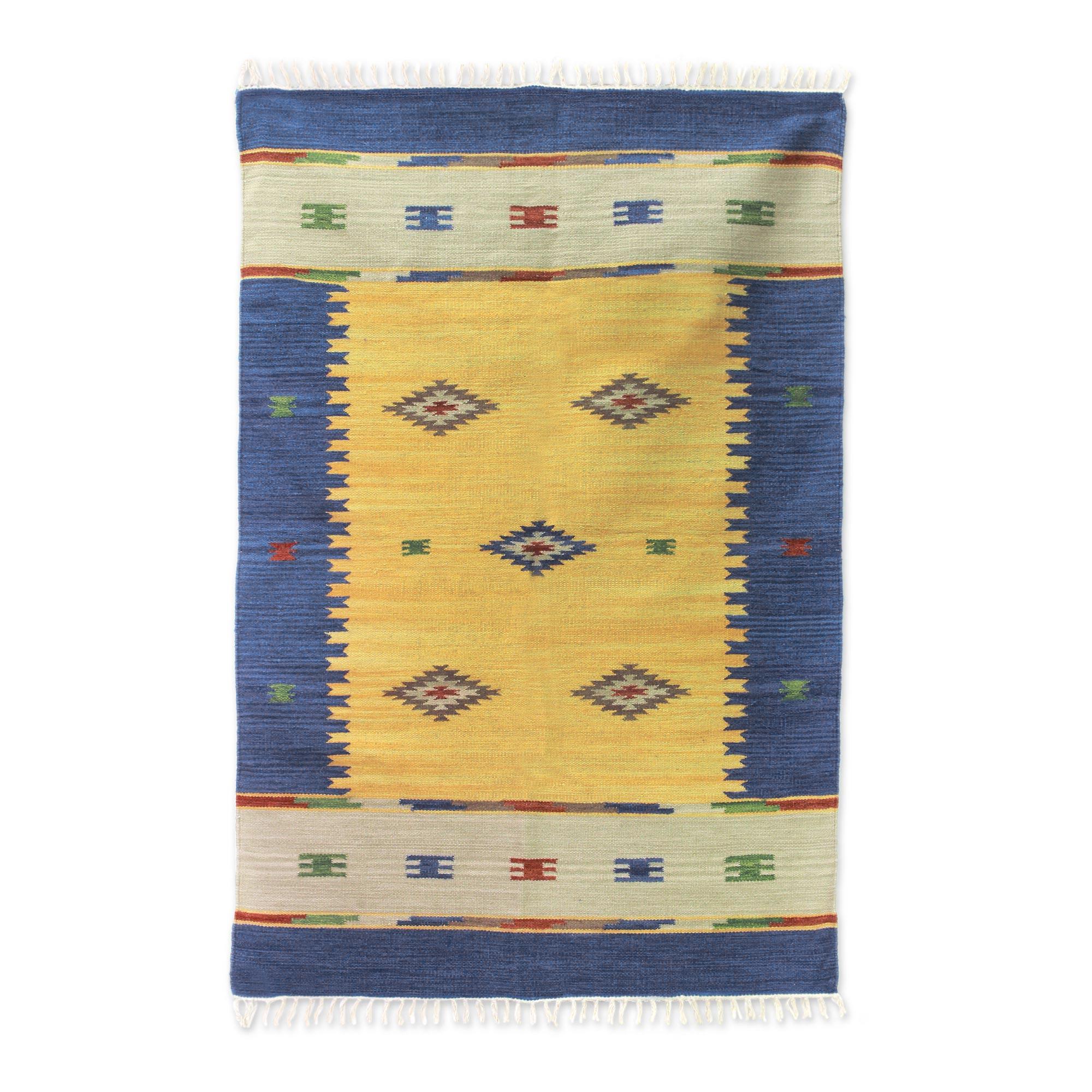 Fair Trade Wool Area Rug India Dhurrie