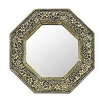 Mirror, 'Golden Vineyard' - Brass Repoussé Wall Mirror Indian Artist Hand Made