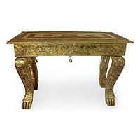 Brass accent table, 'Royal Signature' - Coffee Accent Table End Brass Repoussé Handmade