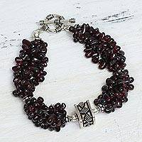 Garnet beaded bracelet, 'Regal Red' - Beaded Multi-Strand Garnet Bracelet