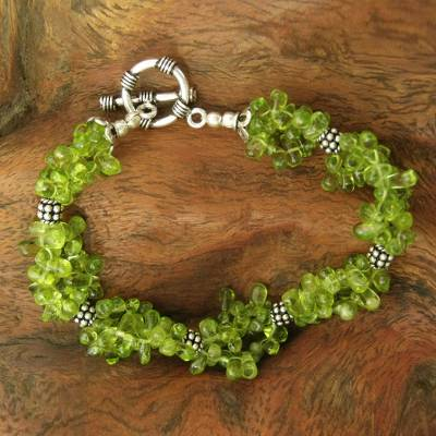 Peridot beaded bracelet, 'Song of Summer' - Peridot beaded bracelet
