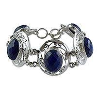 Lapis lazuli link bracelet, 'Seductive Blue' - Chunky Lapis Lazuli and Sterling Silvery Bracelet from India