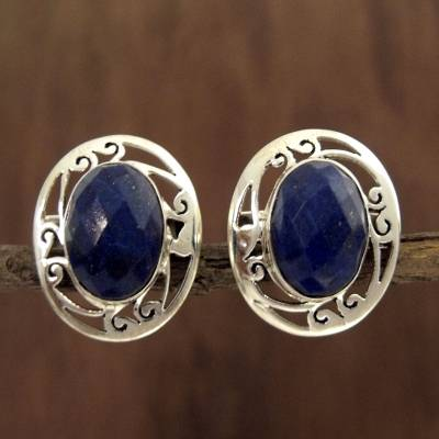 Silver Faceted Lapis Button Earrings