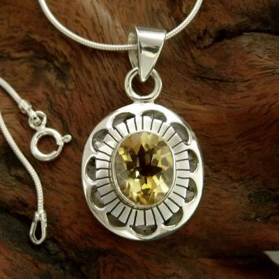 Citrine pendant necklace, 'Sun Halo' - Sterling Silver Necklace with Citrine from India Jewelry