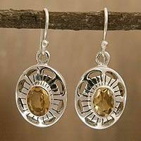 Citrine dangle earrings, 'Sun Halo' - Sterling Silver and Citrine Dangle Earrings