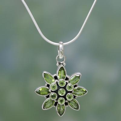 b67a4b45b Peridot flower necklace, 'Sunflower Green' - Hand Crafted Women's Sterling  Silver Peridot Jewelry