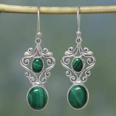 Malachite dangle earrings, 'Natural Majesty' - Fair Trade jewellery Sterling Silver Malachite Earrings