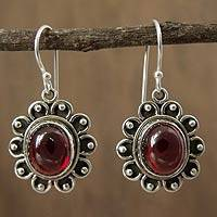 Garnet dangle earrings, 'Profound Scarlet' - Hand Crafted Floral Sterling Silver and Garnet Earrings