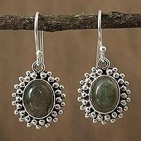 Labradorite dangle earrings, 'Forest Mist' - Artisan Crafted Sterling Silver and Labradorite Earrings