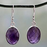 Amethyst drop earrings, 'Love's Grandeur' - Sterling Silver Amethyst Earrings Fair Trade Jewelry