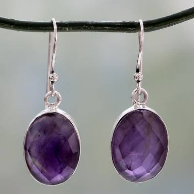 Amethyst Drop Earrings Love S Grandeur Sterling Silver Fair Trade Jewelry