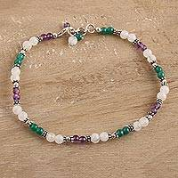 Amethyst and rainbow moonstone anklet, 'Head Over Heels'