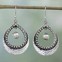 Pearl dangle earrings, 'Grace' - Hand Crafted Sterling Silver and Pearl Earrings