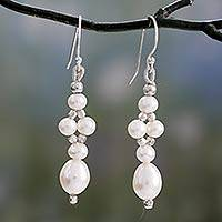 Pearl dangle earrings, 'Whisper' - Pearl dangle earrings
