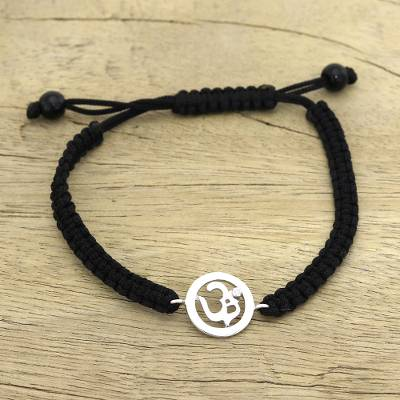 Diamond charm bracelet, 'Solitary Om' - Diamond charm bracelet