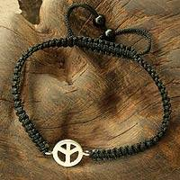 Sterling silver charm bracelet, 'Just Peace'