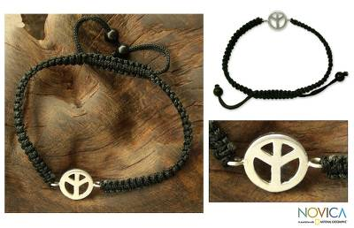 Sterling silver charm bracelet, 'Just Peace' - Sterling silver charm bracelet