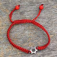 Sterling silver charm bracelet, 'Star of Hope'