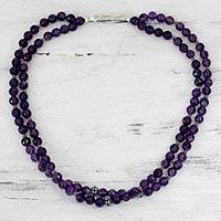 Amethyst strand necklace, 'Wisdom's Fortune' - Amethyst strand necklace