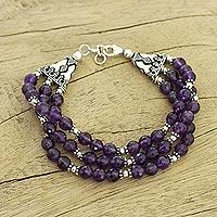Amethyst beaded bracelet, 'Wisdom's Fortune' - Amethyst beaded bracelet