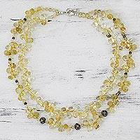 Citrine strand necklace, 'Sunny Wisdom'