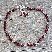 Carnelian anklet, 'Brilliant Glow' - Beaded Anklet of Carnelian and Sterling Silver from India