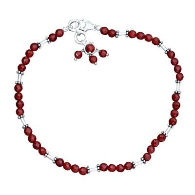 Fair Trade Red Orange Carnelian Sterling Silver Beaded Anklet