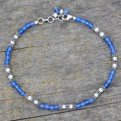 Chalcedony and cultured pearl anklet, 'View of the Sky' - Chalcedony and pearl anklet