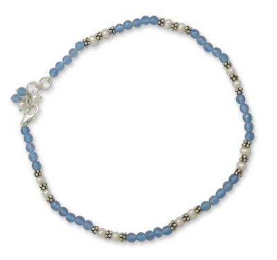 Chalcedony and pearl anklet