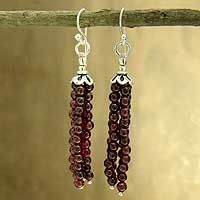 Garnet waterfall earrings, 'Chimes of Love' - Garnet Waterfall Earrings in Sterling Silver from India
