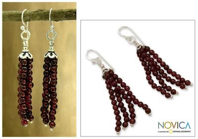 Garnet waterfall earrings, 'Chimes of Love' - Garnet Waterfall Earrings in Sterling Silver from India
