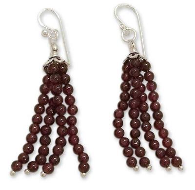 Garnet Waterfall Earrings in Sterling Silver from India