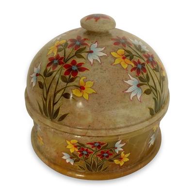 Soapstone jar, 'Floral Kisses' - Soapstone jar
