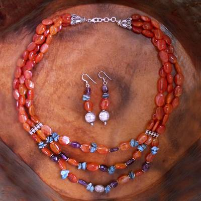 Carnelian and amethyst jewelry set, 'Enthralled' - Carnelian and amethyst jewelry set