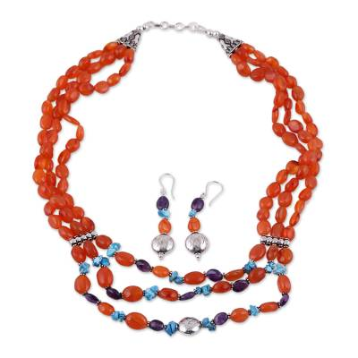 Carnelian and amethyst jewelry set