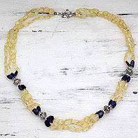 Citrine and lapis beaded long necklace, 'Sunny Sky' - Beaded Citrine and Lapis Lazuli Sterling Silver Necklace