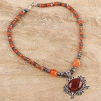 Labradorite and carnelian flower necklace, 'Temptress' - Artisan Silver Labradorite and Carnelian Necklace