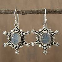 Rainbow moonstone dangle earrings, 'Radiant Star' - Moonstone Earrings in Sterling Silver from India