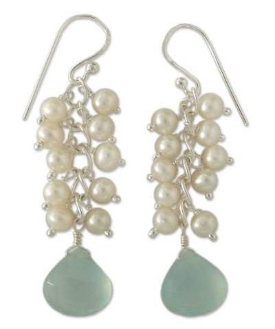 Pearl and chalcedony cluster earrings, 'Aqua Shimmer' - Pearl and chalcedony cluster earrings