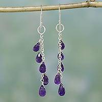 Amethyst dangle earrings, 'Lilac Waterfall' - Sterling Silver Waterfall Amethyst Earrings from India